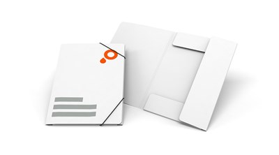 Presentation folders with elastic band closure