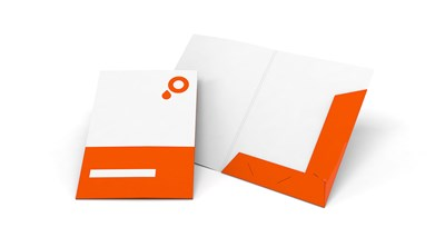 Presentation folders with folded flaps and business card slot