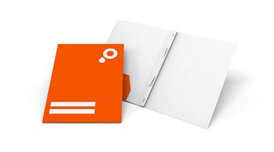 Presentation folders with pocket and filing strips