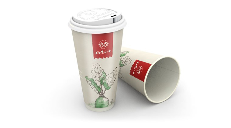 300ml Color Printed Disposable Coffee Cups , Heat Insulated