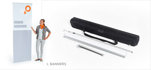 L banner with accessories