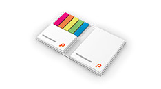 Sticky notes with cover, affixed on left edge