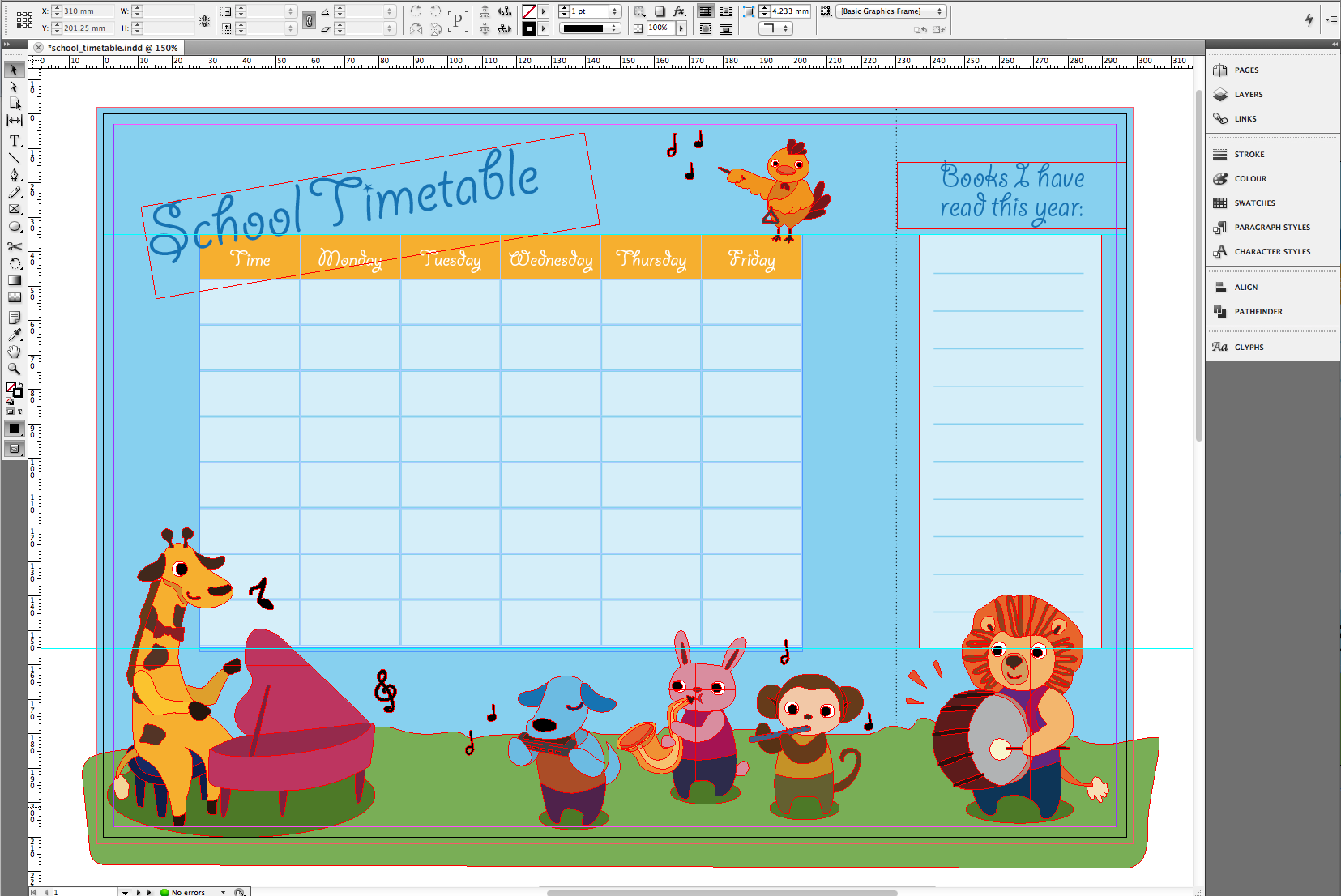 Tutorial Design a timetable with bookmark SAXOPRINT Blog UK – School Time Table Designs