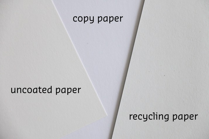 comparison of uncoated natural paper, copy paper and recycling paper