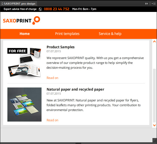 Start and news area in SAXOPRINT pro design