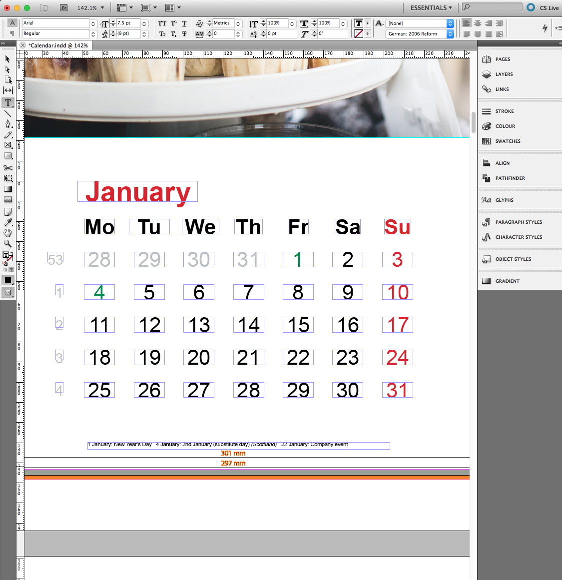 corporate calendar in indesign incl template saxoprint. Black Bedroom Furniture Sets. Home Design Ideas