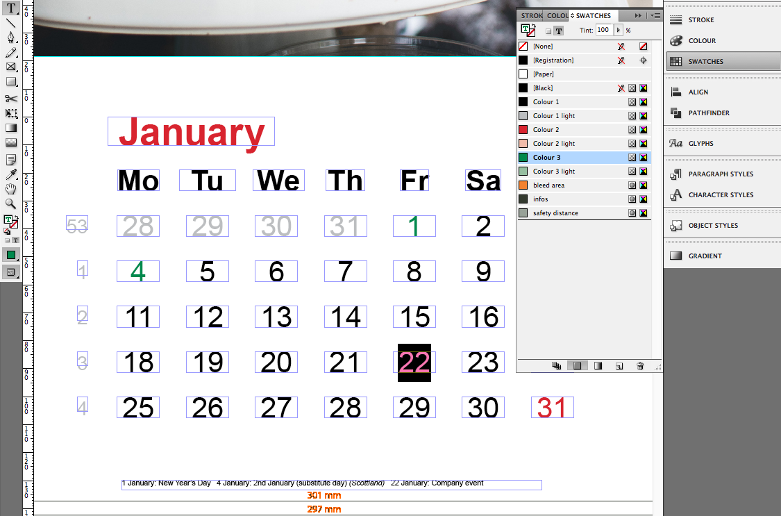 corporate calendar in indesign incl template saxoprint