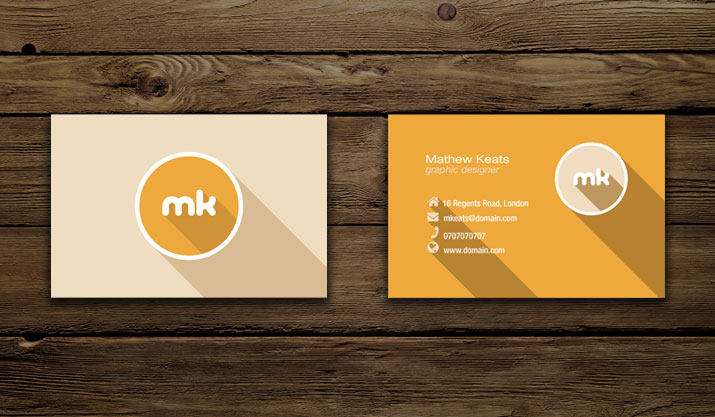 Material Design Print Business Card Side 1 and 2